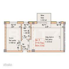 2 camere, 55,75 mp, etaj intermediar, zona strazii Bucuresti