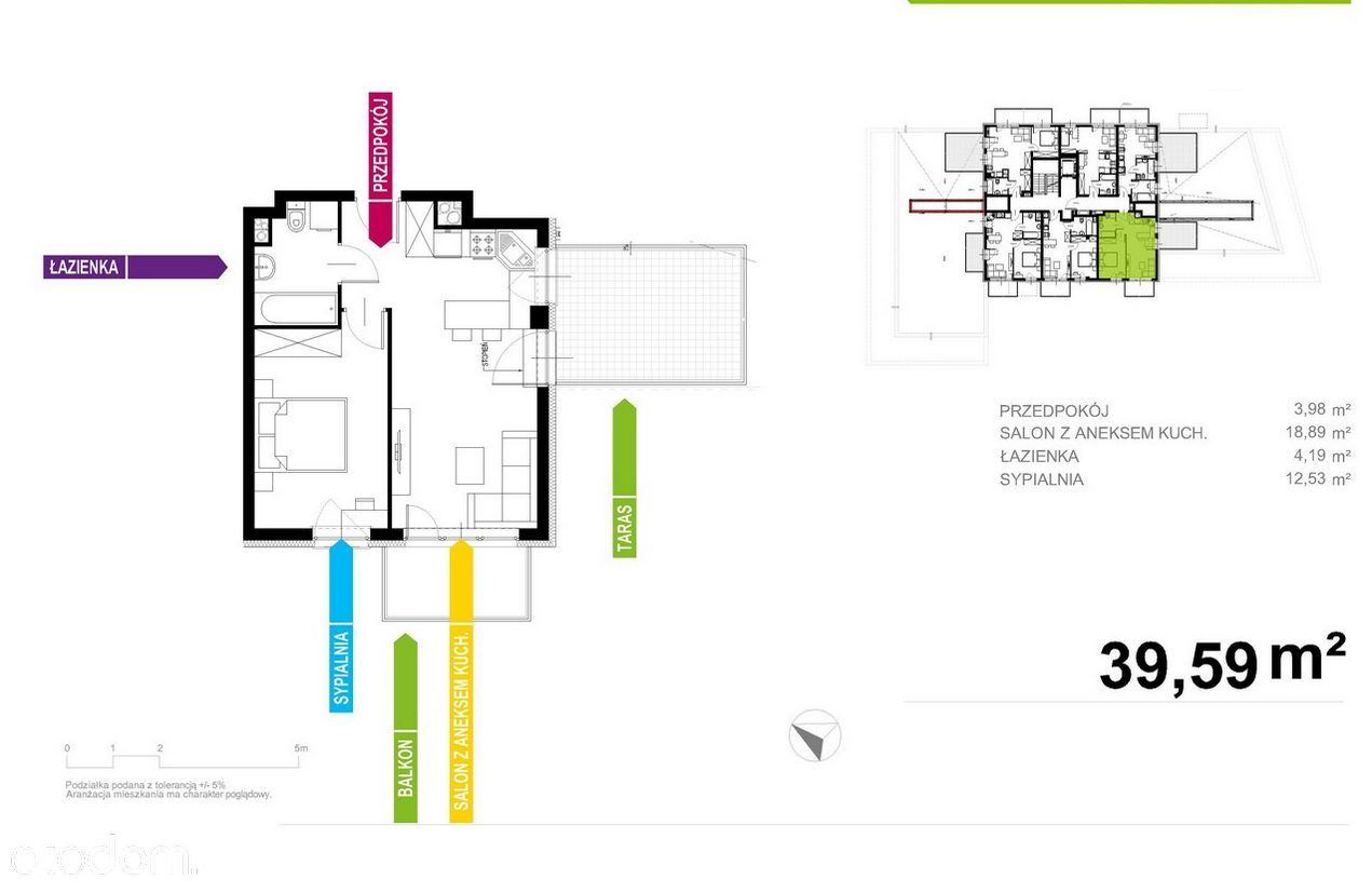 Apartament 40m2, 2 pokoje z TARASEM! Bez Prowizji!