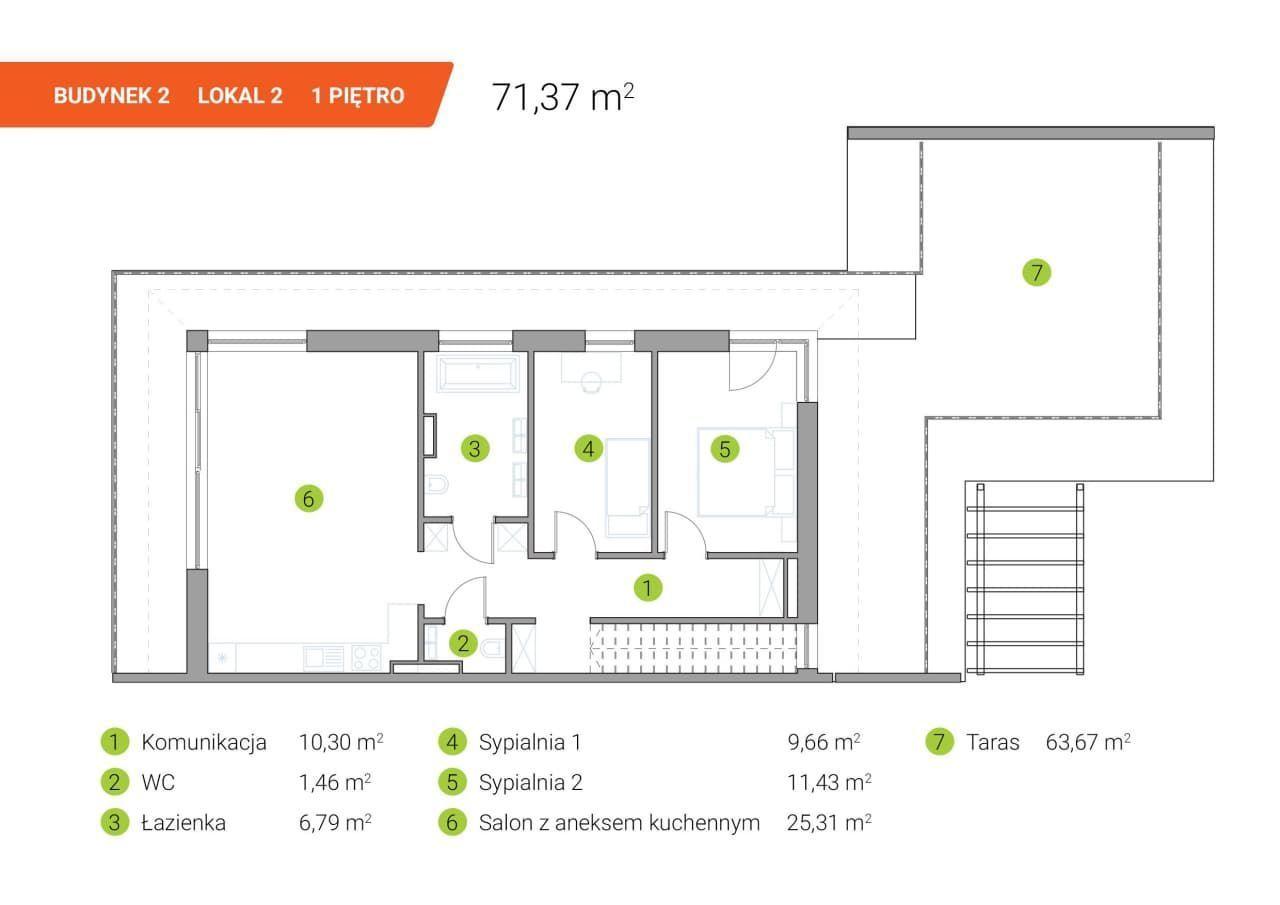 Mieszkanie z dużym tarasem 63m2