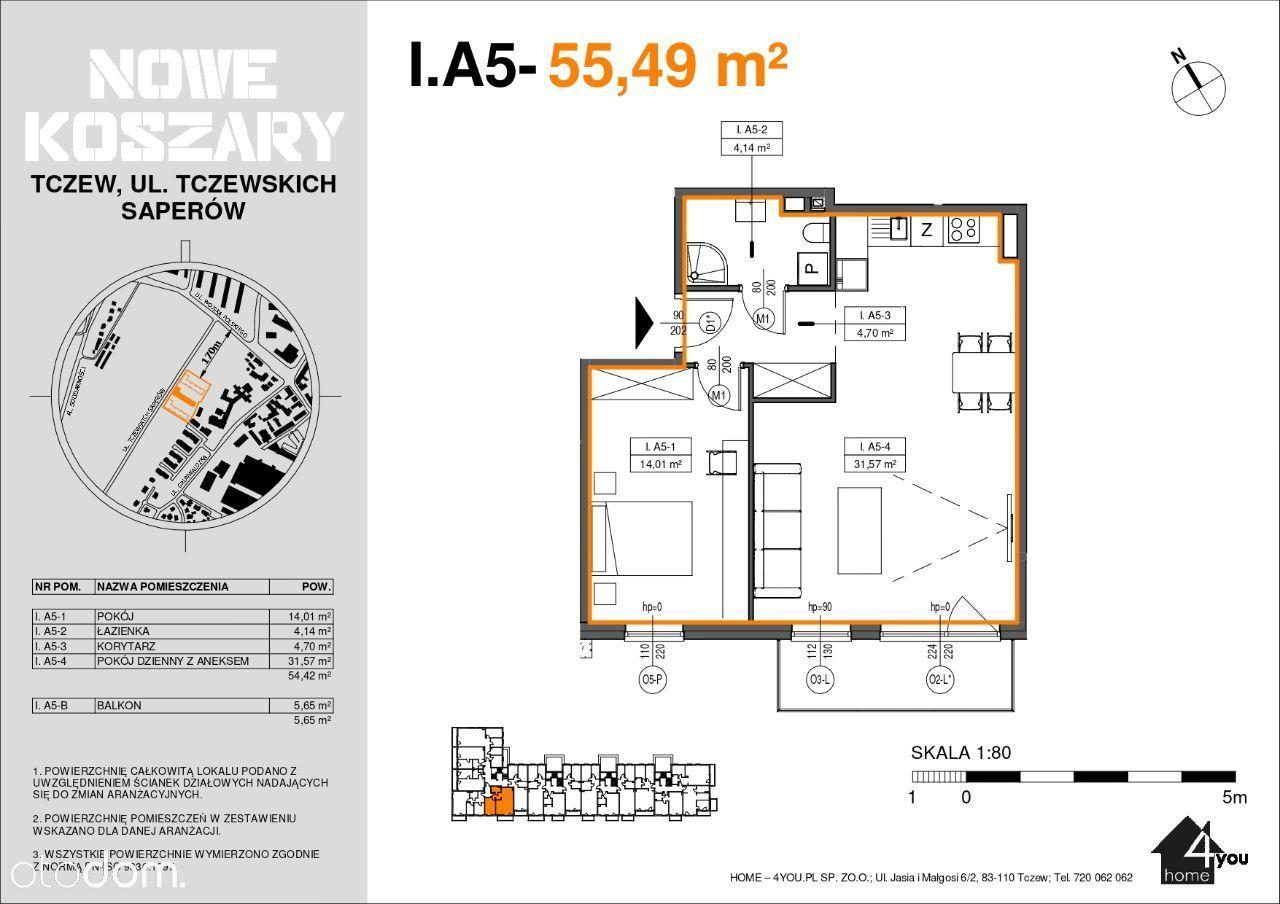 1A5 Etap II Dwupokojowe mieszkanie z balkonem