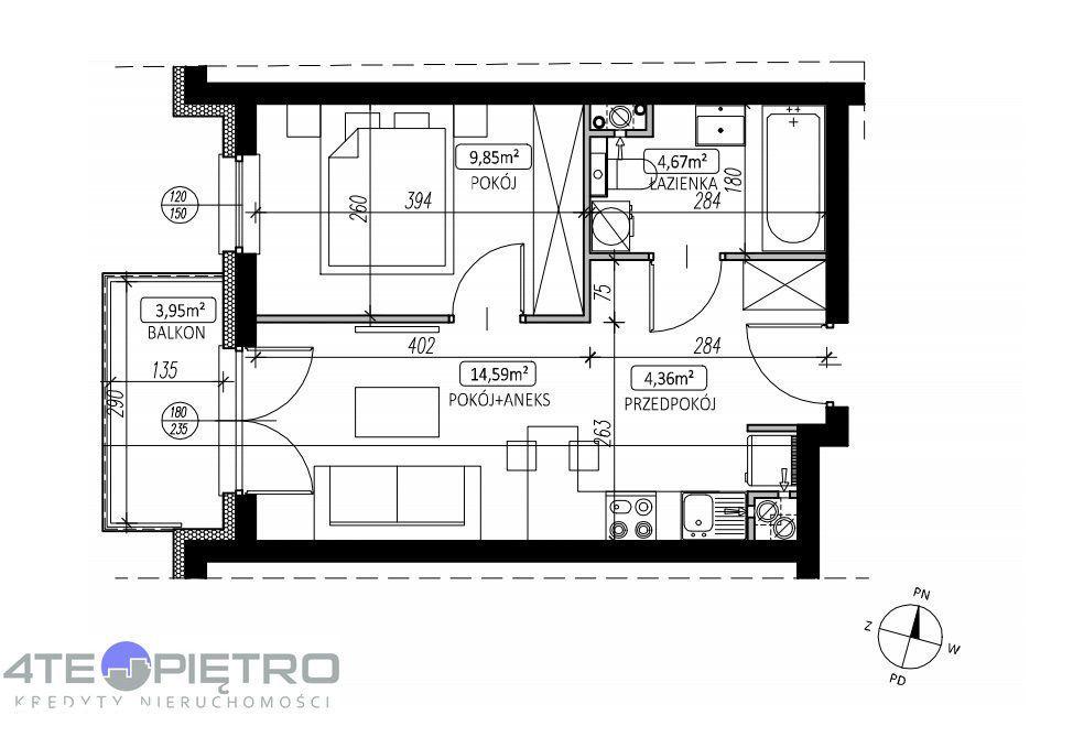 Nowe mieszkanie, 34m2, 2P+Ak, Felin, 2022r.