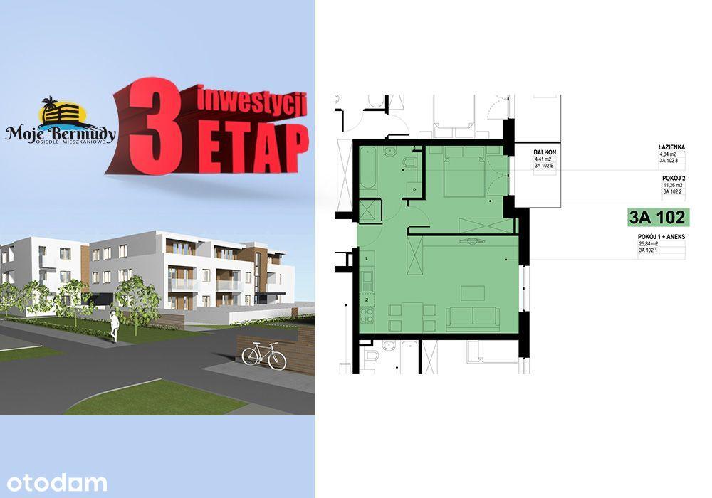 Mieszkanie o pow. 41,93 m2 z balkonem; 3A 102