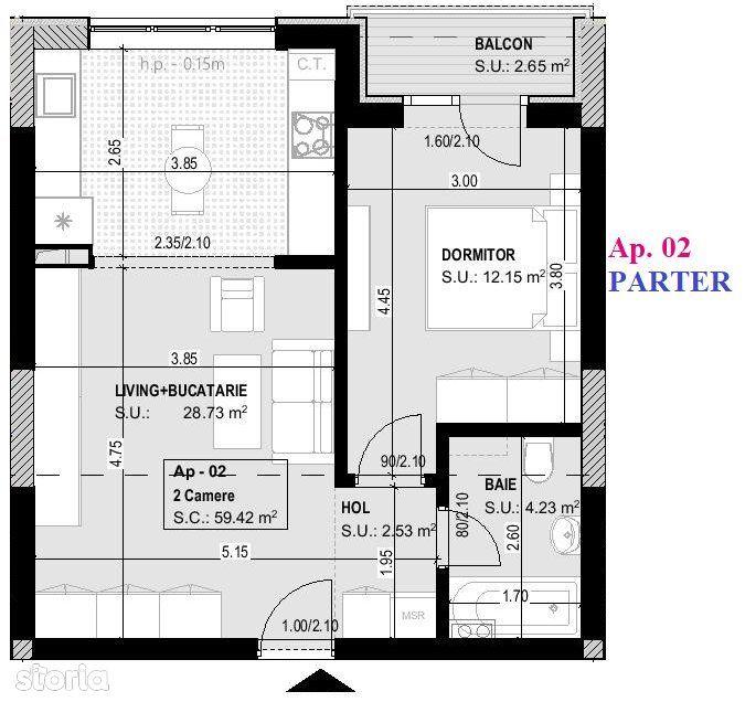 CORVARIS RESIDENCE TITAN - Apartament 2 camere