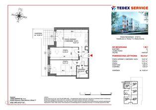 Trzypokojowe mieszkanie 56,31mkw Residence IV, M1