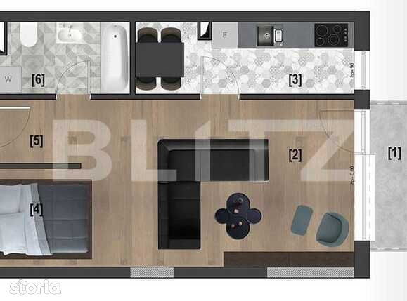 Apartament 2 camere, 44,5 mp, etaj intermediar, CF, complex...