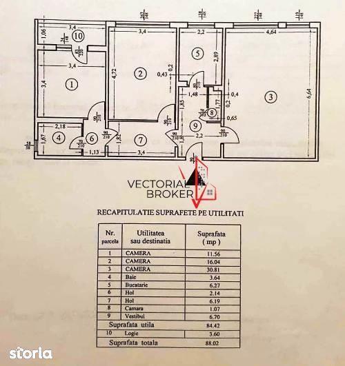Titan-Jean A.Steriadi(bisericuta de Lemn) 3 camere  decomandat, 88mp