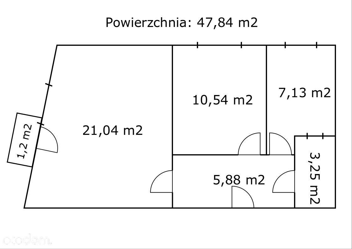 Mieszkanie 48m2 w Łomży Centrum (balkon, piwnica)