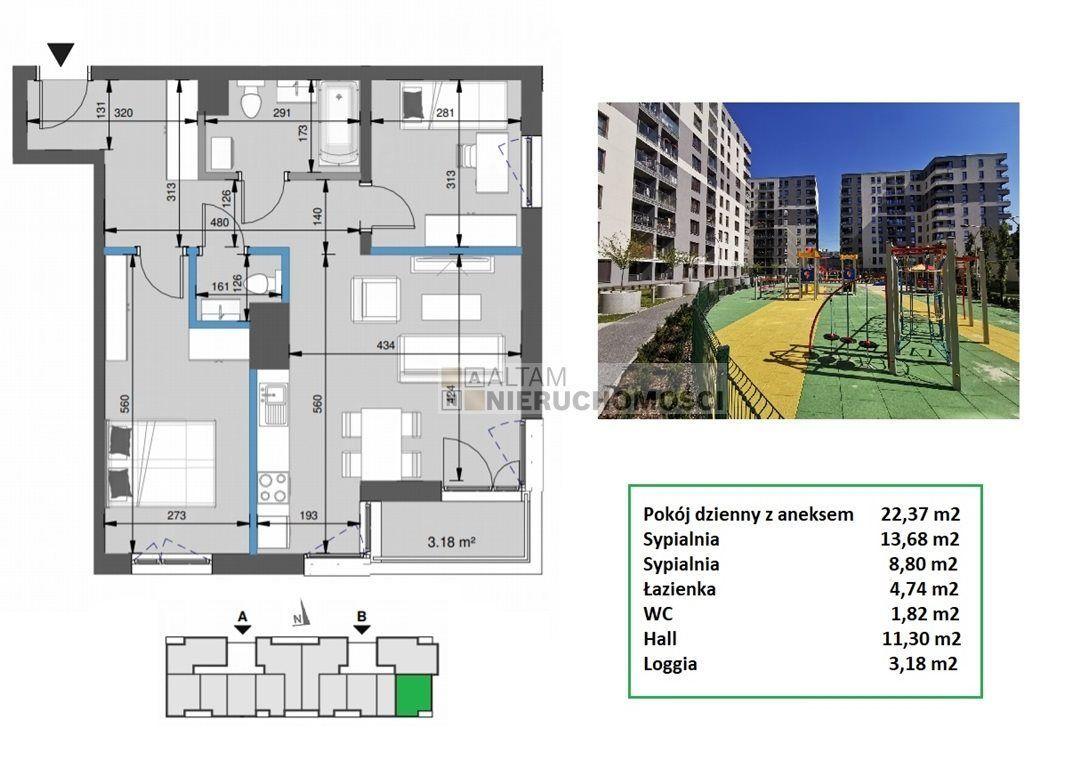 3pok+kuch 64m2 balkon park Mistrzejowice 0% 2021