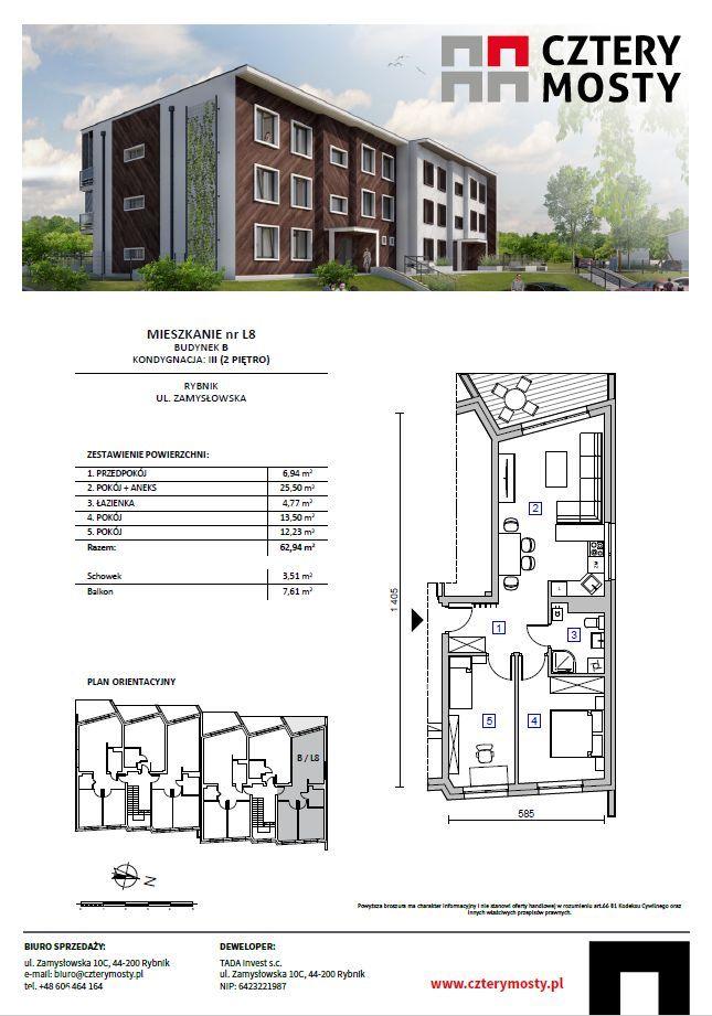 *** Nowe mieszkanie 62,94 m2 z tarasem, 3 pokoje *