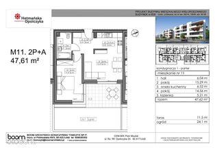 B36-M11, mieszkanie 2-pokojowe, 47,61 m2, parter