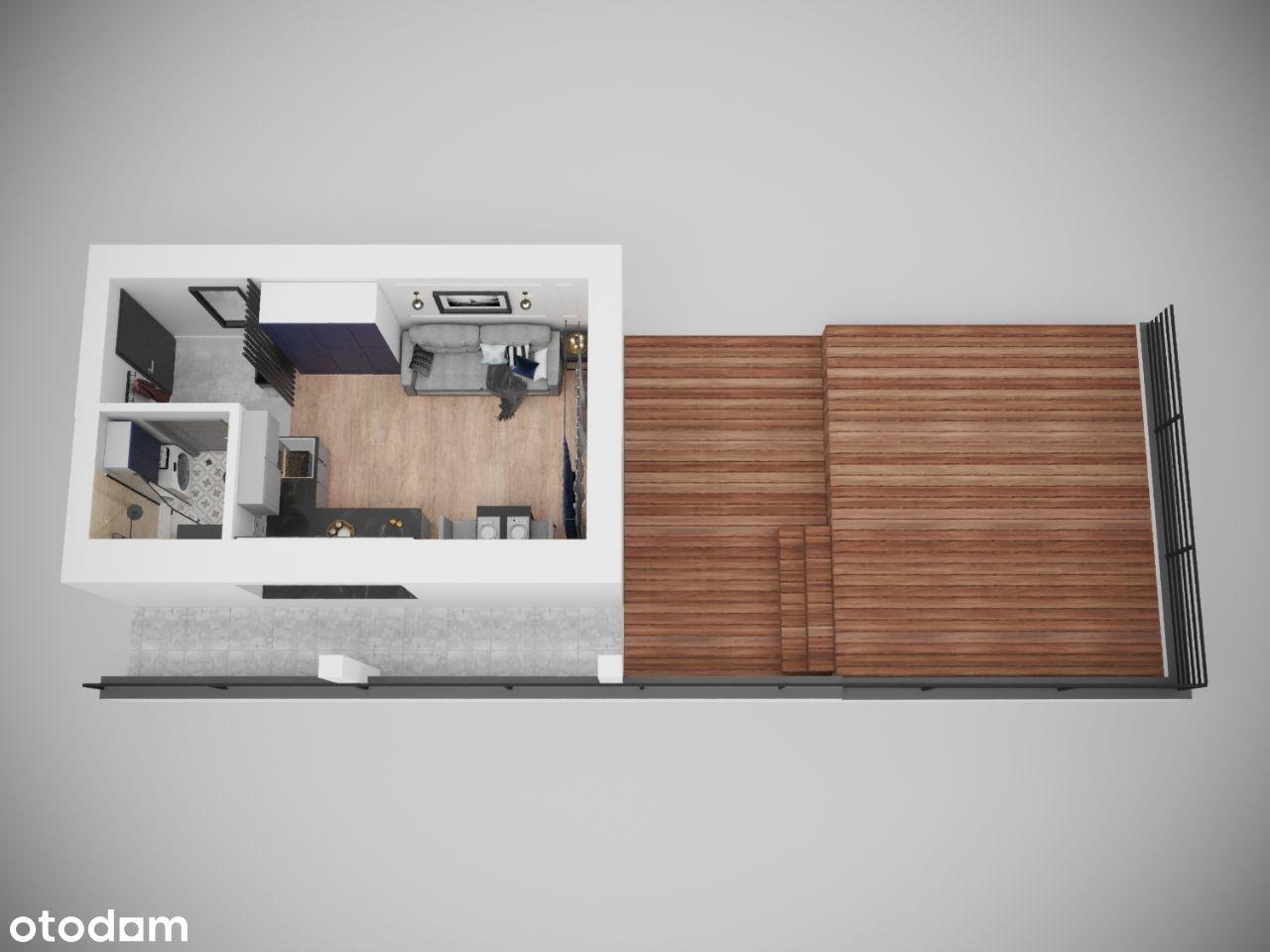 Mieszkanie z PRZESTRONNYM TARASEM na 1 piętrze