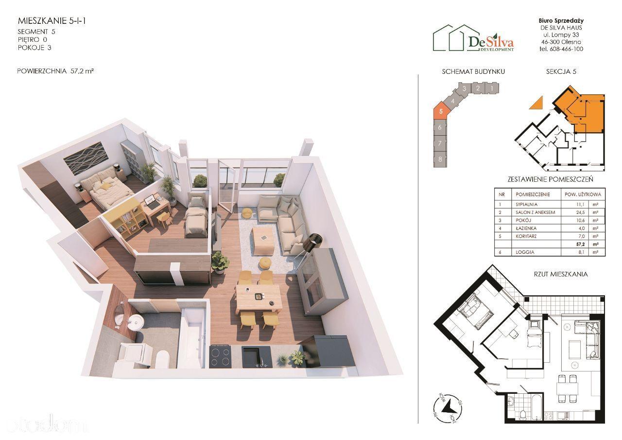 Mieszkanie 3pok. w nowym bloku garaż podziemny 511