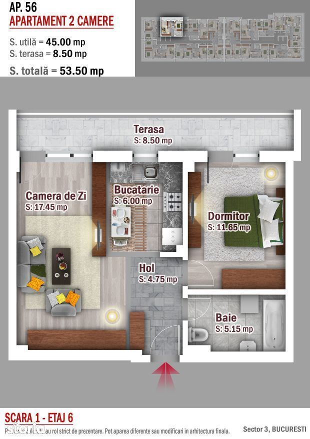 Apartament 2 camere Finalizat -Titan, Metrou 1 decembrie 1918
