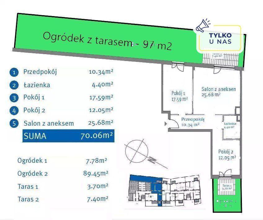 3.pok, 71m2, Bemowo, Metro, Ogródek 105 m2