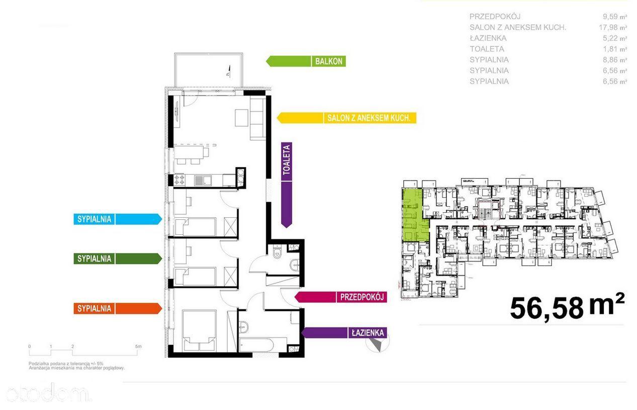 Nowoczesny Apartament 57m2, 4 pokoje, Bez Prowizji