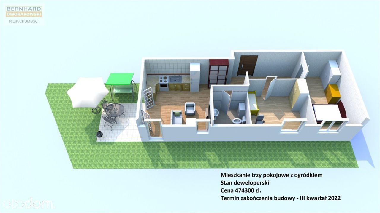 Trzypok. mieszkanie (57m2) z ogródkiem i tarasem