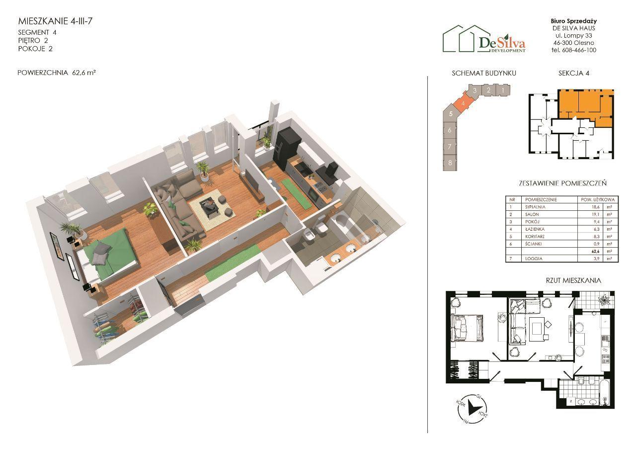 Mieszkanie 2-pokojowe + kuchnia + garderoba 4-3-7