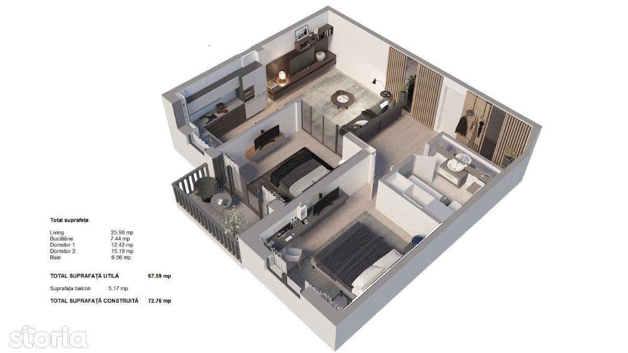Apartament 3 camere, etaj 1, finalizare 2022, zonă nouă Triaj-Coresi!
