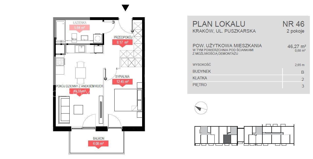 Bonarka - Puszkarska - 2 pokoje / 46,27 m2 gotowe