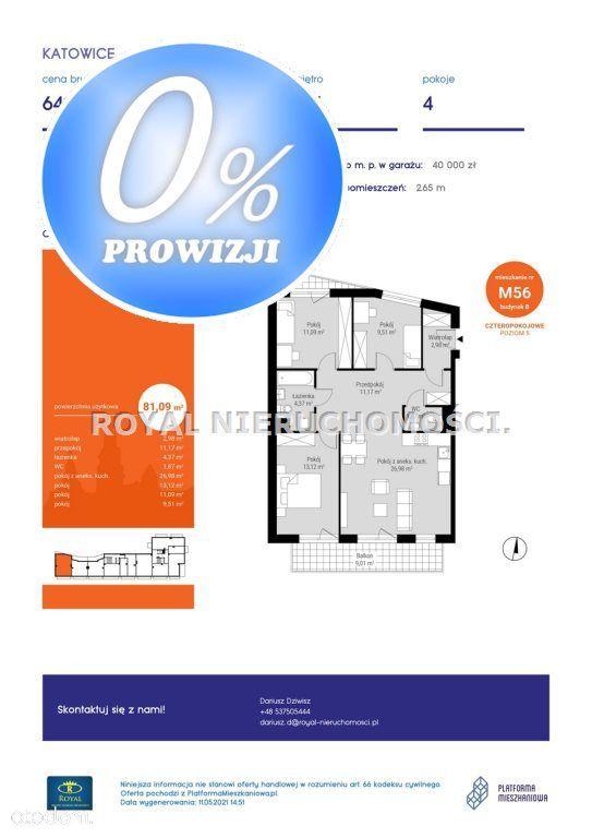 Mieszkanie, 81,09 m², Katowice