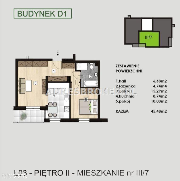 Mieszkanie, 45,48 m², Knurów