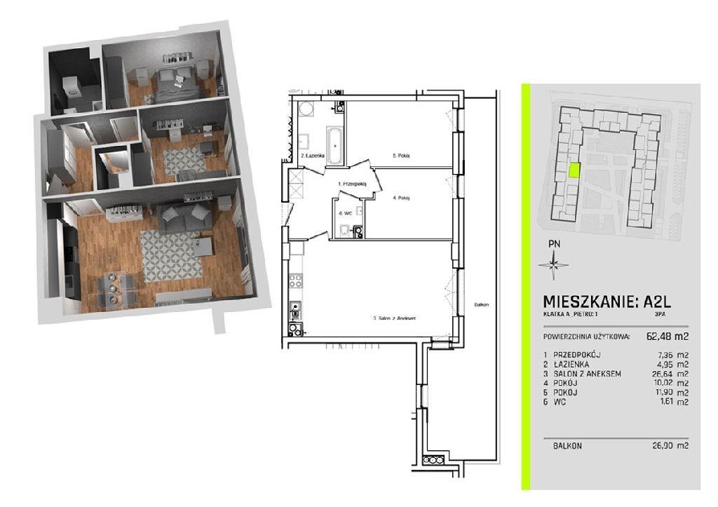 Trzy pokoje w nowym apartamentowcu na Nowym Złotni
