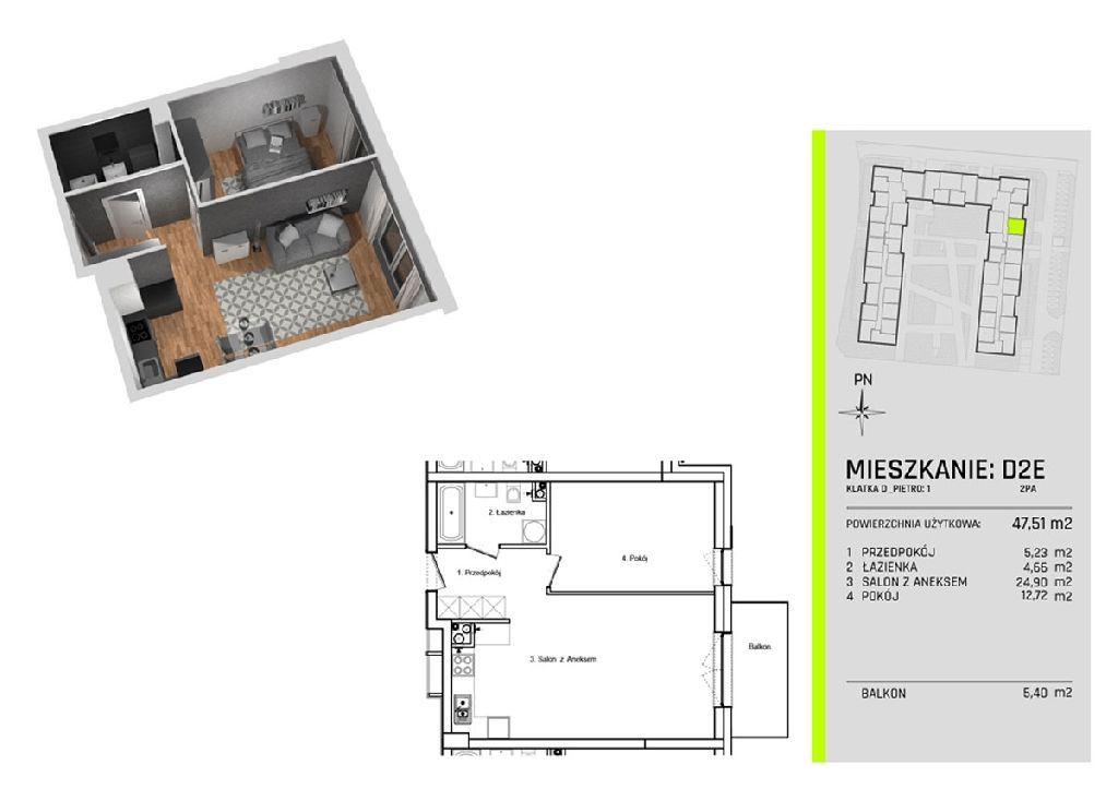 Dwa pokoje w nowym apartamentowcu na Złotnie - Prz
