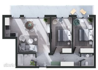 Apartament nou de 3 camere, zona centrala, etaj 18, 73.02 mp utili