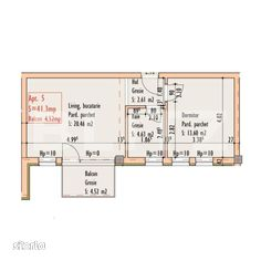 2 camere, 41,3 mp, etaj intermediar, zona strazii Bucuresti