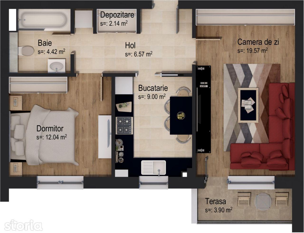 Apartament cu 2 camere Tip 2L + BOXĂ inclusă în preț