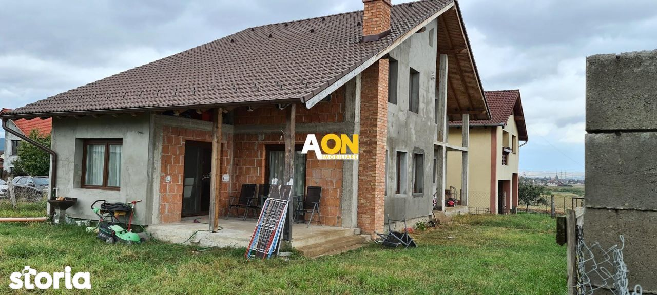Casa noua semifinisata, 5 camere, 550 mp teren, zona Alba Micesti