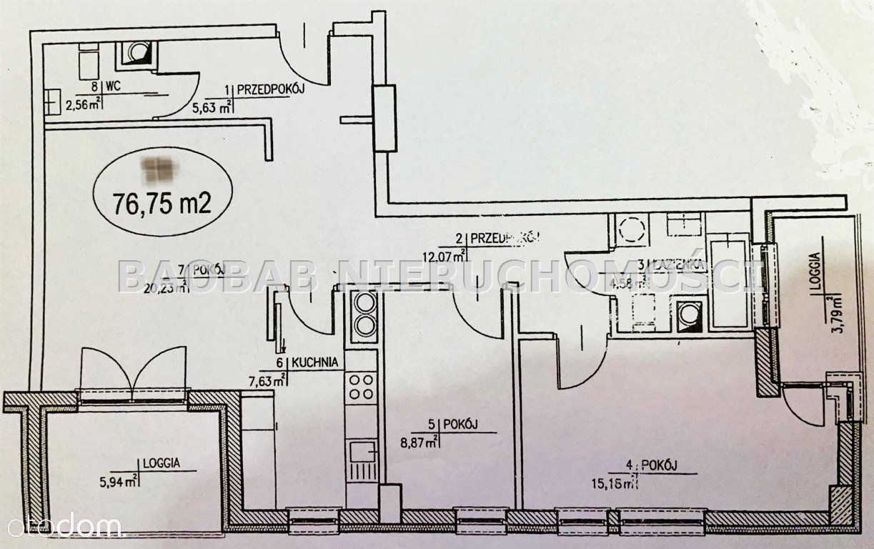 Mieszkanie, 76,75 m², Warszawa