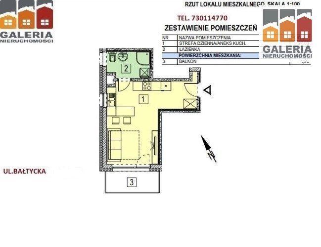 Nowe mieszkanie 27,78m2, balkon. ul. Bałtycka