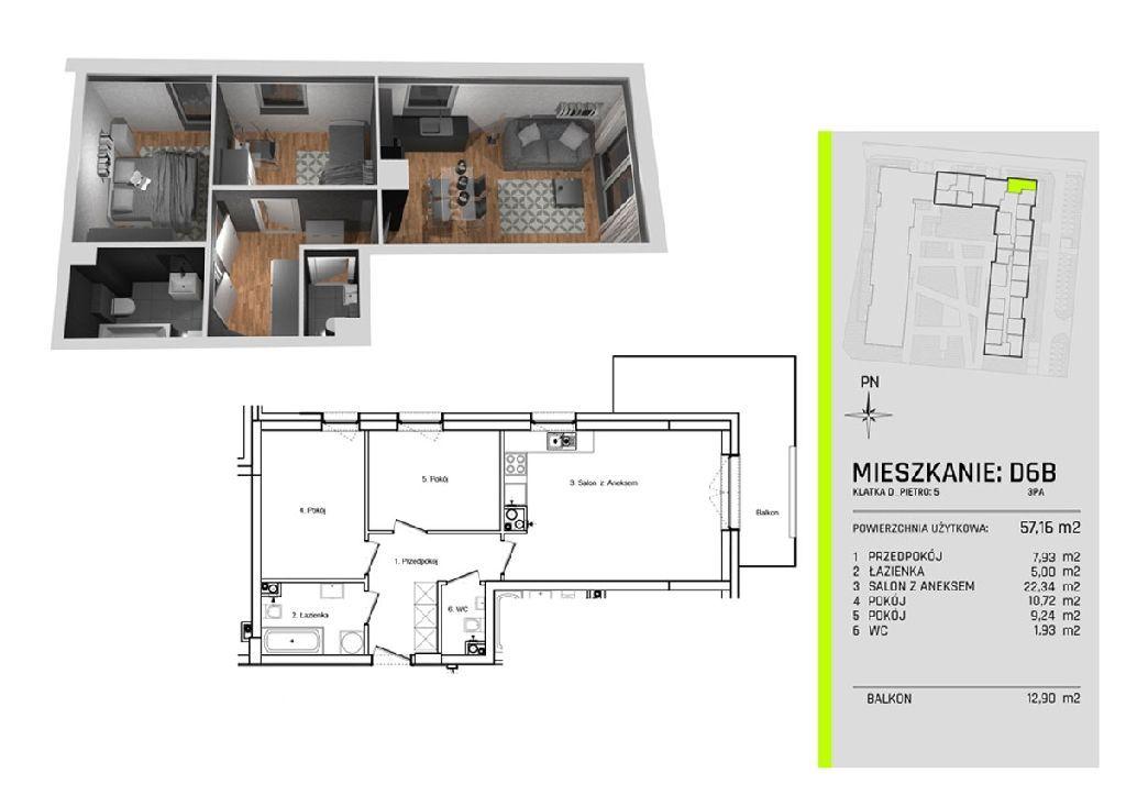 Trzy pokoje w nowym apartamentowcu na Złotnie ! W