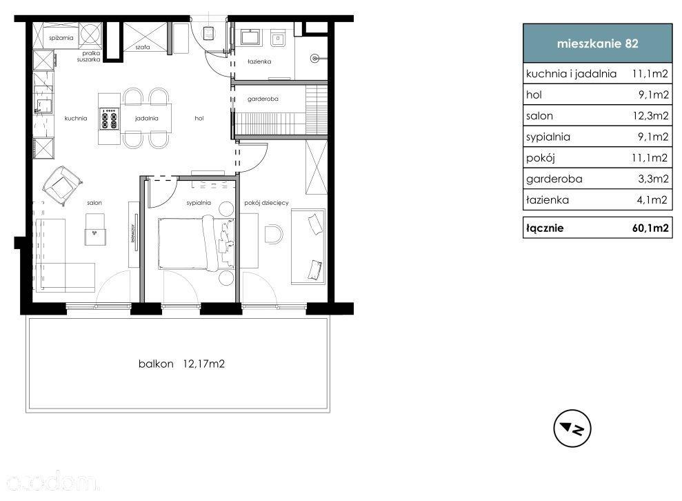 Bonarka - 3 pokoje, garderoba, balkon 12m2 / IVQ21