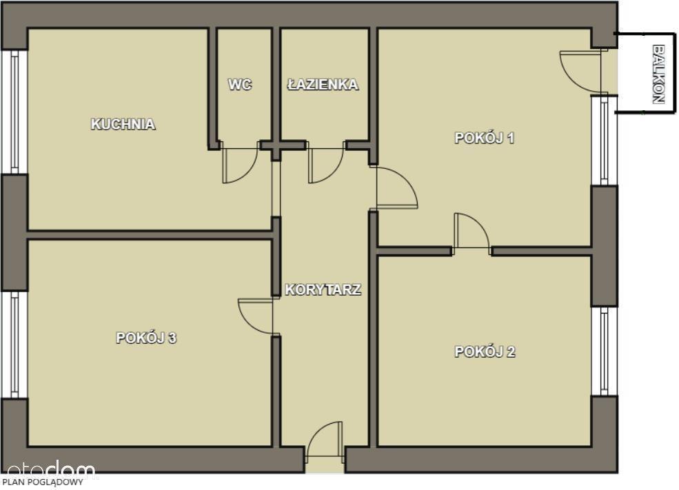 Mieszkanie, Os. Piasta, 3 Pokoje, 49 Mkw