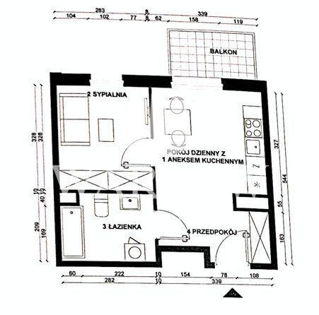 Fuzja: studio, balkon - 2 piętro - bydynek B2