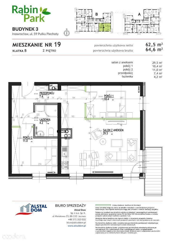 Nowe mieszkanie 3 pokojowe na Osiedlu Rąbin Park