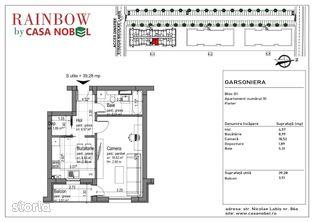 Garsonieră în clădire cu P + 4, la etajul 2