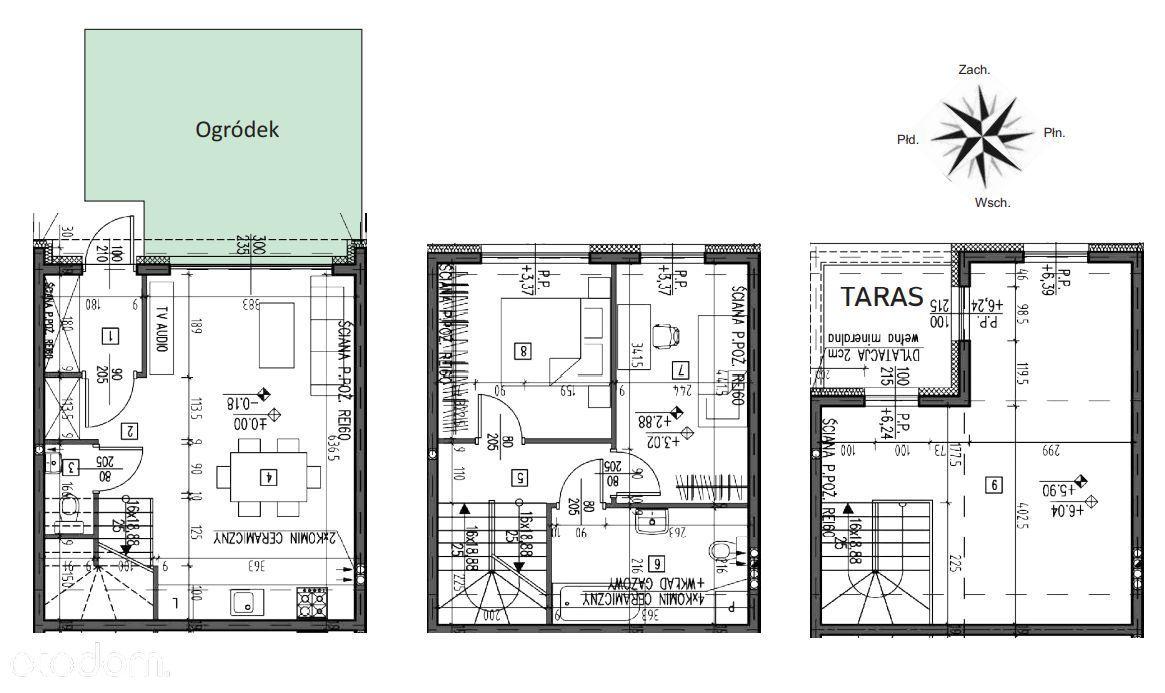 Marki segment 3 poziomowy z ogródkiem 25 m2