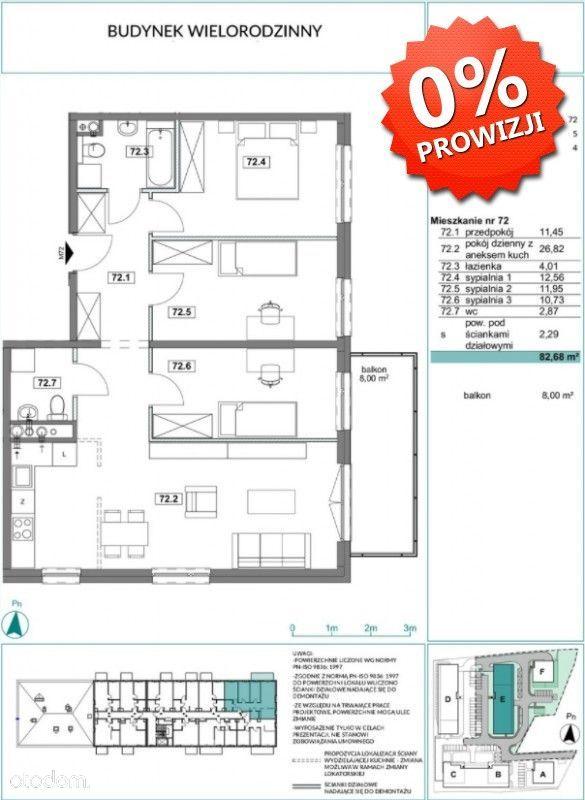 Chorzów, mieszkanie 83 m2 z balkonem, 0% prowizji!