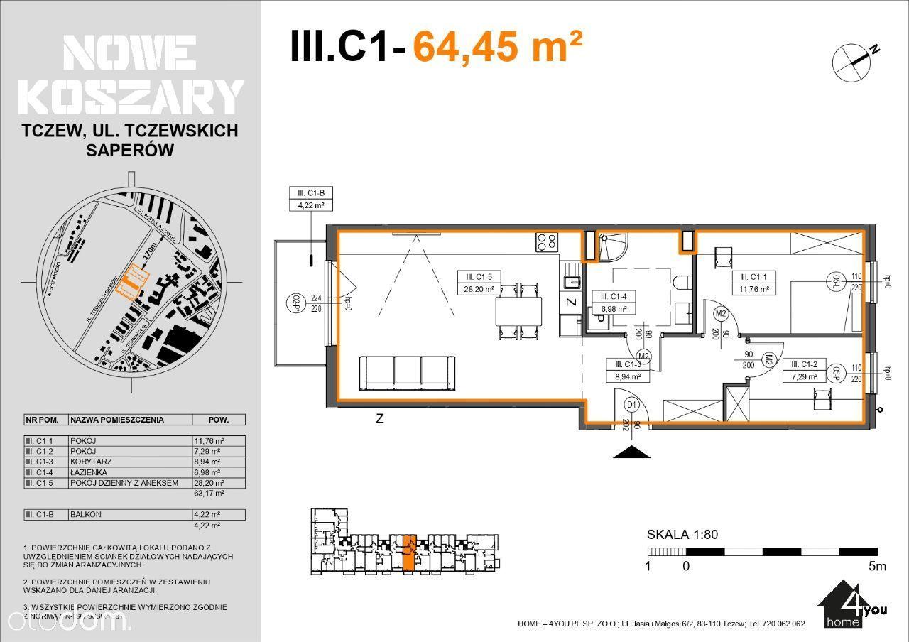 3C1 Etap II Trzypokojowe mieszkanie z balkonem