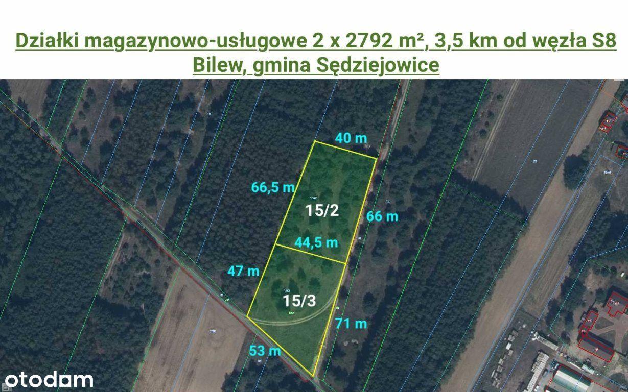 Działki magazynowo-usługowe 2x2792 m² blisko S8