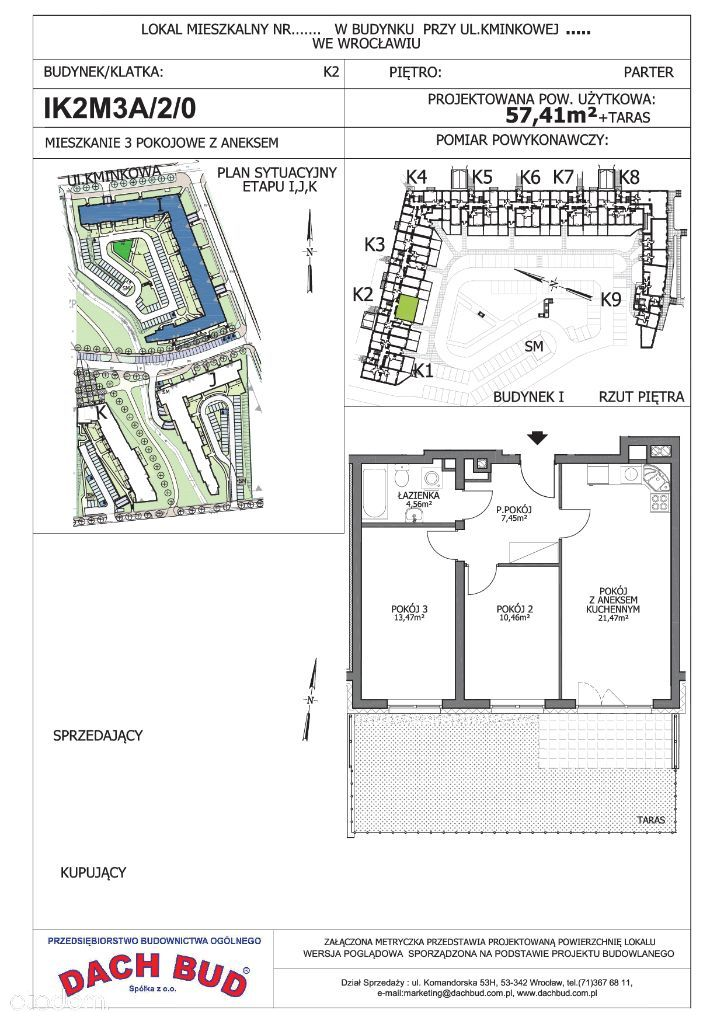 3-pokoje, duży zielony taras, parking w cenie!