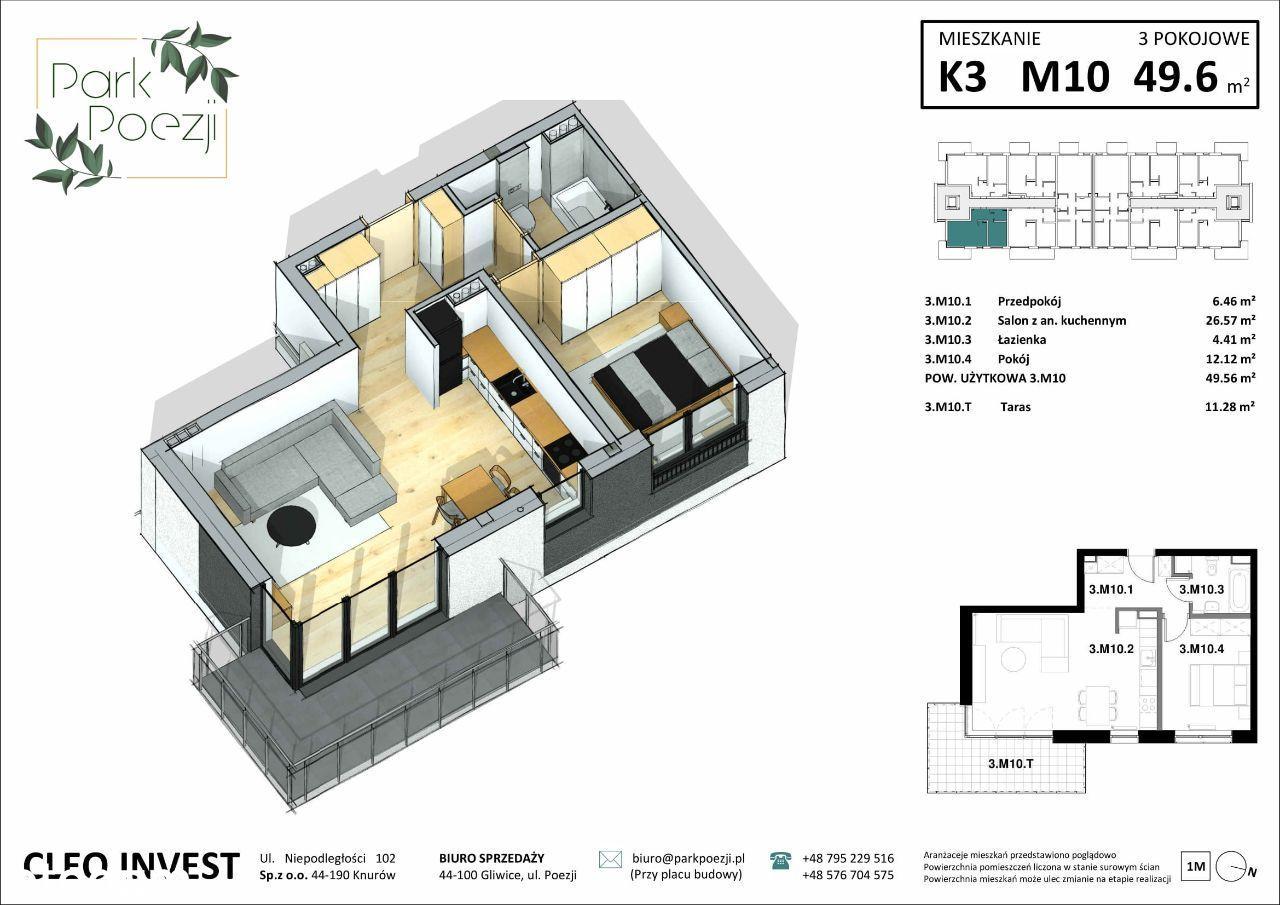 Mieszkanie 48m2, narożne,duży balkon, widok na las