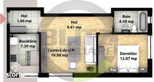 Apartament cu 2 camere, semifinisat, finalizare August 2020!
