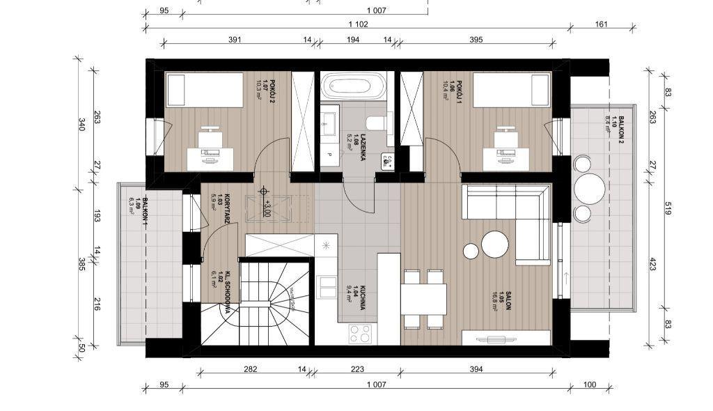 Mieszkanie 3-pokojowe 65 m2 Osiedle Skrzydlate