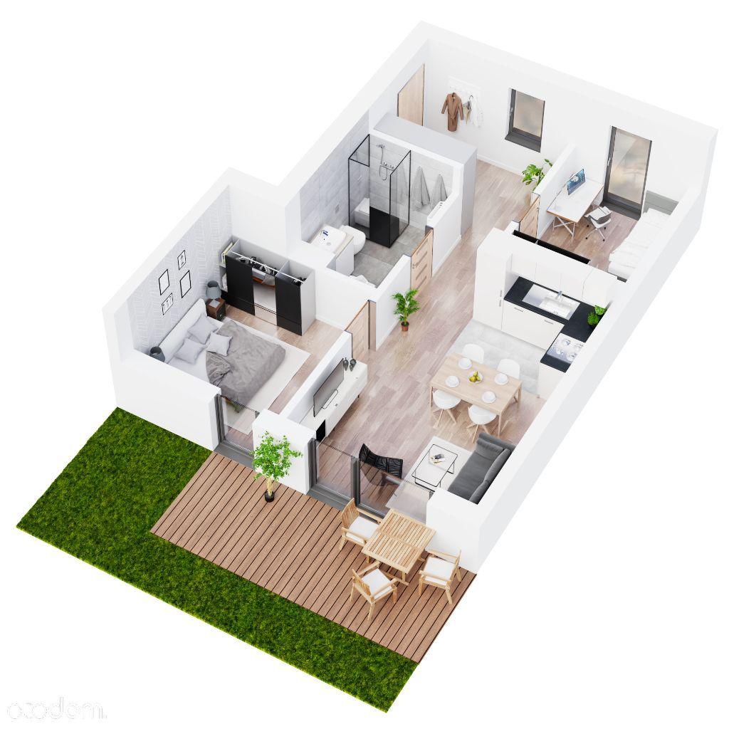 Mieszkanie z ogódkiem 3 pokojowe