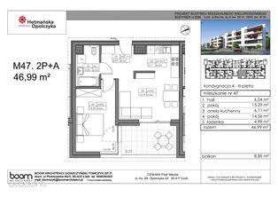 B36-M47, mieszkanie 2-pokojowe, 46,99 m2, 3 piętro