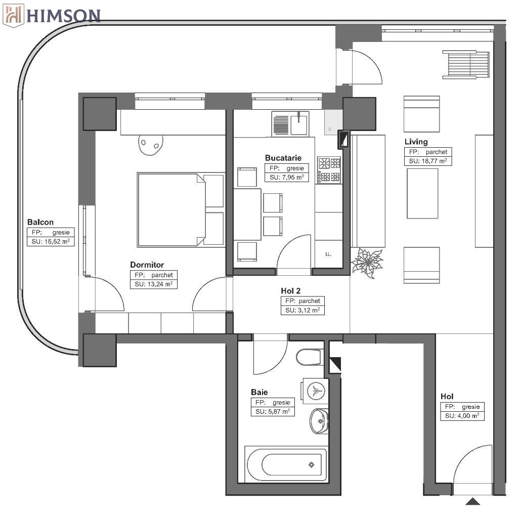 Apartamente Himson, 2 camere decomandate, Metalurgie